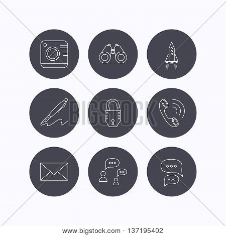 Photo, startup rocket and search icons. Pen, lock and mail linear signs. Dialog chat bubbles, phone call flat line icons. Flat icons in circle buttons on white background. Vector