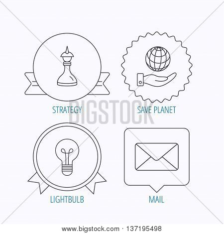 Strategy, save planet and mail envelope icons. Lamp lightbulb linear sign. Award medal, star label and speech bubble designs. Vector
