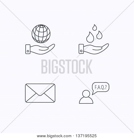 Mail, save water and faq speech bubble icons. Save planet linear sign. Flat linear icons on white background. Vector