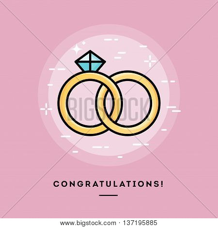 Congratulations! Flat design thin line banner usage for e-mail newsletters web banners headers blog posts print and more
