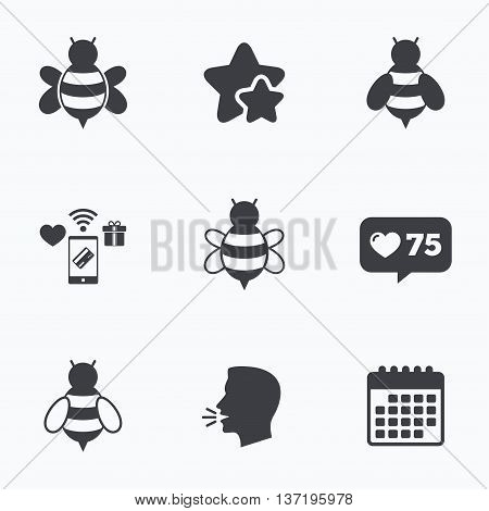 Honey bees icons. Bumblebees symbols. Flying insects with sting signs. Flat talking head, calendar icons. Stars, like counter icons. Vector