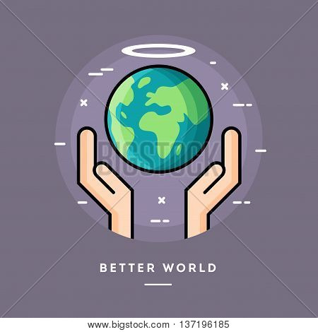 Better world flat design thin line banner usage for e-mail newsletters web banners headers blog posts print and more