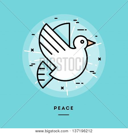 Peace flat design thin line banner usage for e-mail newsletters web banners headers blog posts print and more