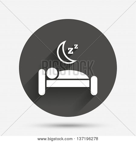 Hotel apartment sign icon. Travel rest place. Sleeper symbol. Circle flat button with shadow. Vector