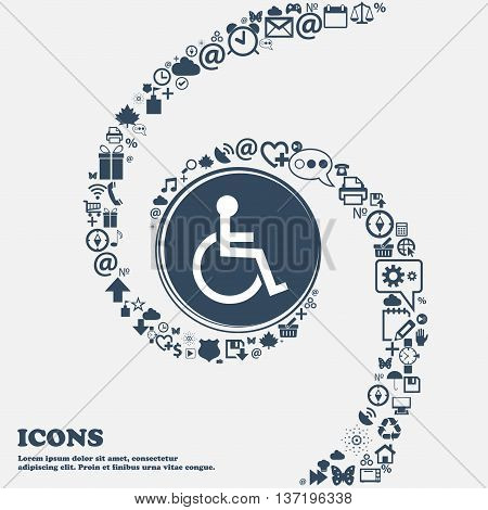Disabled Sign Icon. Human On Wheelchair Symbol. Handicapped Invalid Sign In The Center. Around The M