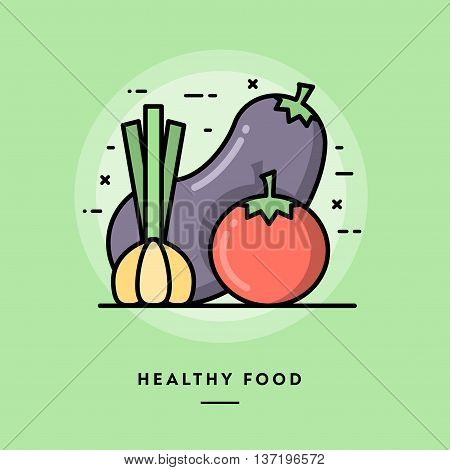 Healthy food flat design thin line banner usage for e-mail newsletters web banners headers blog posts print and more