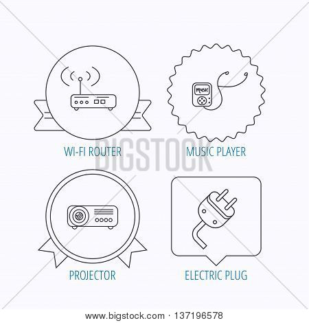 Electric plug, wi-fi router and projector icons. Music player linear sign. Award medal, star label and speech bubble designs. Vector