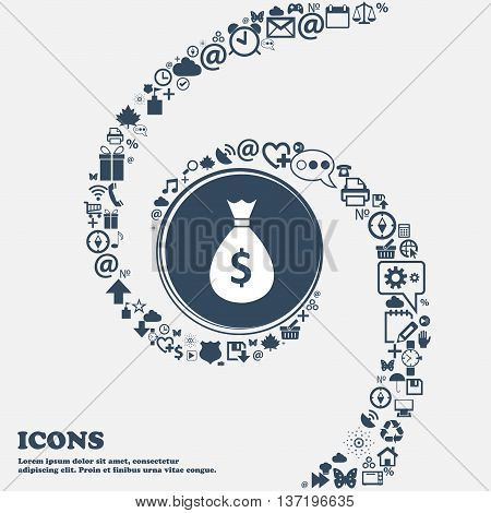 Dollar Money Bag Icon In The Center. Around The Many Beautiful Symbols Twisted In A Spiral. You Can