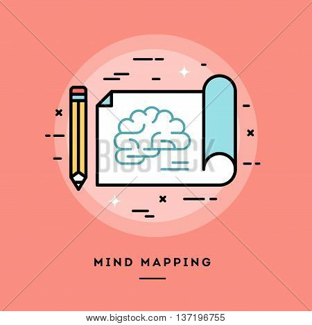 Mind mapping flat design thin line banner usage for e-mail newsletters web banners headers blog posts print and more