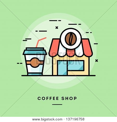 Coffee shop flat design thin line banner usage for e-mail newsletters web banners headers blog posts print and more