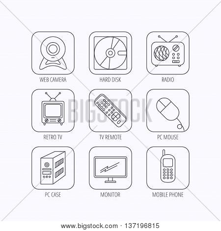 Web camera, radio and mobile phone icons. Monitor, PC case and TV remote linear signs. Hard disk and PC mouse icons. Flat linear icons in squares on white background. Vector