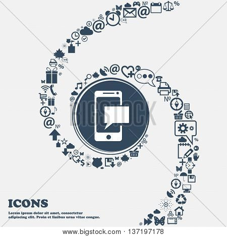 Mail Icon. Envelope Symbol. Message Sms Sign. Mails Navigation Button In The Center. Around The Many
