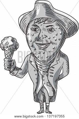 Drawing sketch style illustration of a victorian gentleman with strawberry head wearing tricorn hat holding ice cream cone facing front set on isolated white background done in black and white.