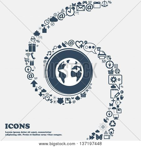 Globe Sign Icon. World Map Geography Symbol. Globes On Stand For Studying In The Center. Around The