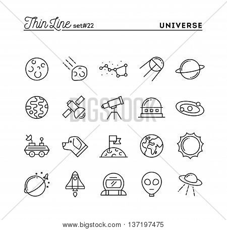Universe celestial bodies rocket launching astronomy and more thin line icons set vector illustration