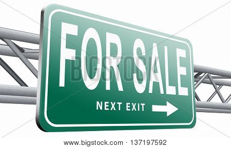 for sale second hand car or house or apartment buying and selling real estate, 3D illustration isolated on white.
