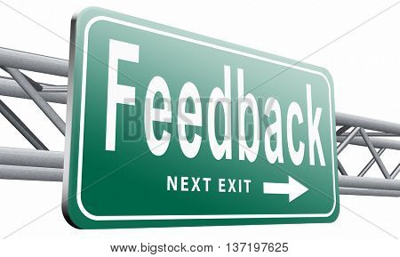 feedback or testimonials or comments for improvement and customer satisfaction, 3D illustration isolated on white.