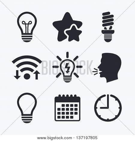 Light lamp icons. Fluorescent lamp bulb symbols. Energy saving. Idea and success sign. Wifi internet, favorite stars, calendar and clock. Talking head. Vector