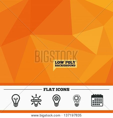 Triangular low poly orange background. Light lamp icons. Circles lamp bulb symbols. Energy saving with cogwheel gear. Idea and success sign. Calendar flat icon. Vector