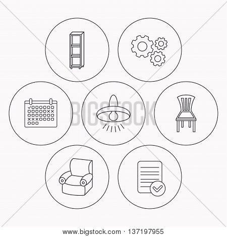 Chair, ceiling lamp and armchair icons. Shelving linear sign. Check file, calendar and cogwheel icons. Vector