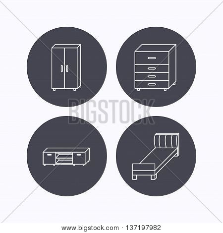 Single bed, TV table and cupboard icons. Chest of drawers linear sign. Flat icons in circle buttons on white background. Vector