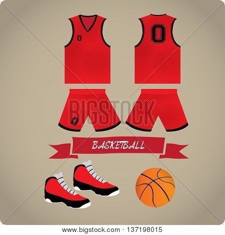 Basketball objects Sport uniform Vector illustration, basketball uniform