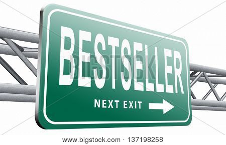 Bestseller, most popular road sign popularity billboard for best seller or market leader and top product or rating in the charts 3D illustration, isolated on white