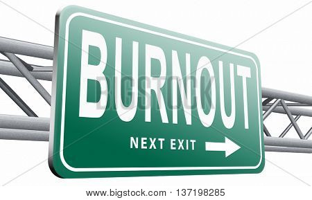 Burnout or psychological work stress. Occupational burn out or job demotivation, exhaustion, lack of enthusiasm and motivation, ineffectiveness and demotivated. 3D illustration, isolated on white