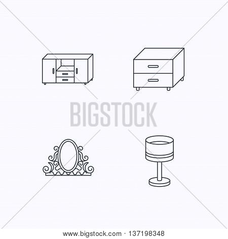 Vintage mirror, table lamp and nightstand icons. Chest of drawers linear sign. Flat linear icons on white background. Vector