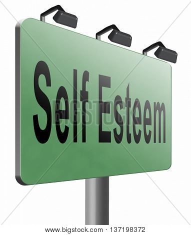 Self esteem or respect confidence and pride psychology, 3D illustration, isolated on white