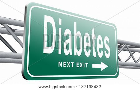 Diabetes find causes  and sceen for symptoms of type 1 or 2 prevention by dieting or treath with medication, 3D illustration isolated on white.