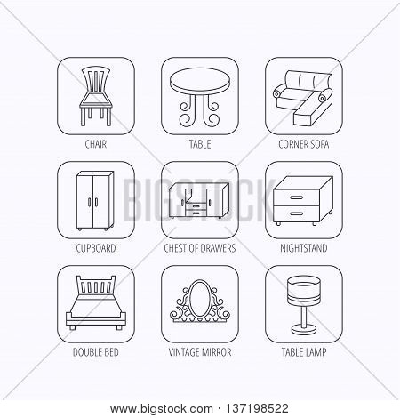Corner sofa, table and cupboard icons. Chair, lamp and nightstand linear signs. Vintage mirror, double bed and chest of drawers icons. Flat linear icons in squares on white background. Vector