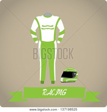 Racing objects Sport uniform Vector illustration, Helm