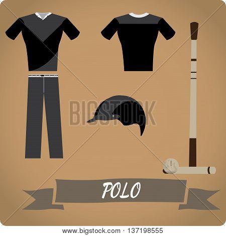 Polo objects Sport uniform Vector illustration, Polo ball