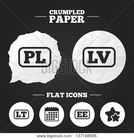 Crumpled paper speech bubble. Language icons. PL, LV, LT and EE translation symbols. Poland, Latvia, Lithuania and Estonia languages. Paper button. Vector