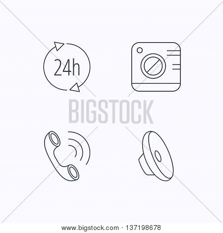 Phone call, 24h service and sound icons. Photo camera linear sign. Flat linear icons on white background. Vector