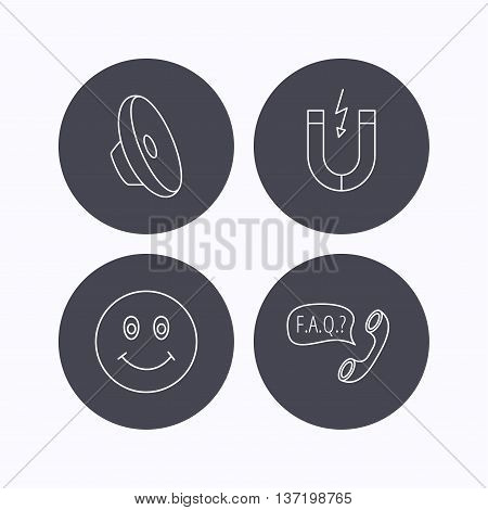Magnet, smiling face and faq speech bubble icons. Sound linear sign. Flat icons in circle buttons on white background. Vector