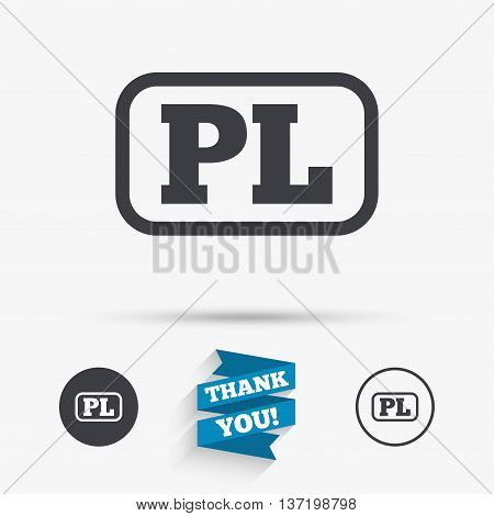 Polish language sign icon. PL translation symbol with frame. Flat icons. Buttons with icons. Thank you ribbon. Vector