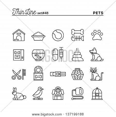 Pets thin line icons set vector illustration