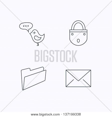 Lock, folder hand and e-mail icons. Bird message linear sign. Flat linear icons on white background. Vector