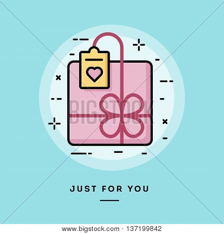 Cute gift box flat design thin line banner usage for e-mail newsletters web banners headers blog posts print and more