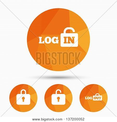 Login and Logout icons. Sign in or Sign out symbols. Lock icon. Triangular low poly buttons with shadow. Vector