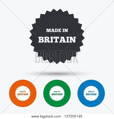 Made in Britain icon. Export production symbol. Product created in UK sign. Round circle buttons with icon. Vector