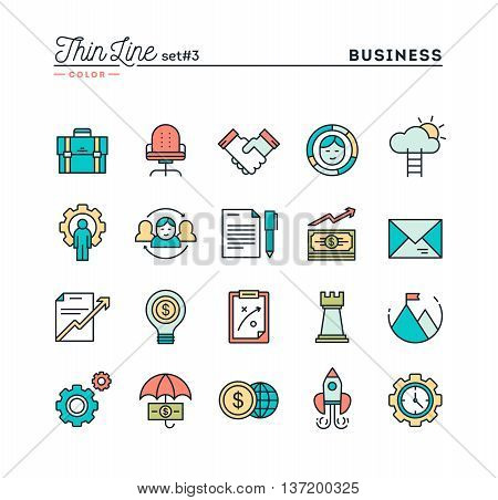 Business entrepreneurship teamwork goals and more thin line color icons set vector illustration