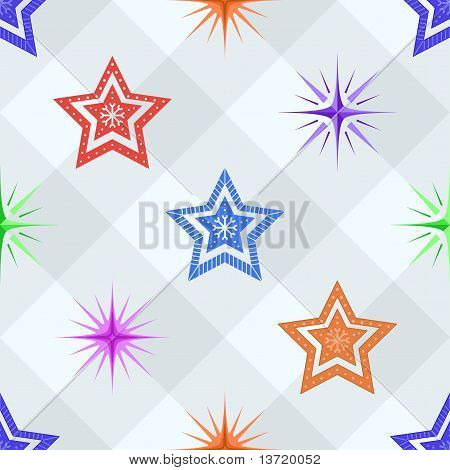 Seamless background, stars on a checkered