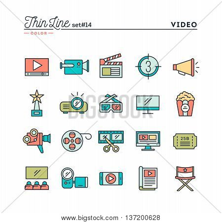 Film video shooting editing and more thin line color icons set vector illustration