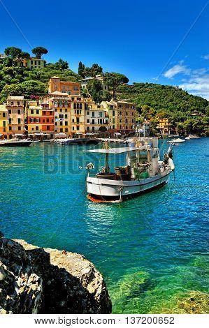 The beautiful bay of Portofino fishing villageluxury harborLigurian CoastItaly