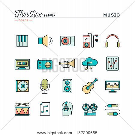 Music sound recording editing and more thin line color icons set vector illustration