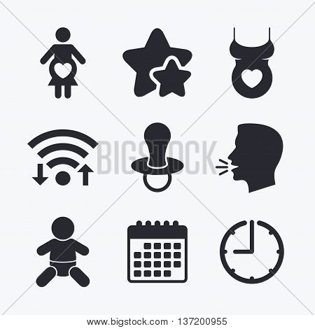 Maternity icons. Baby infant, pregnancy and dummy signs. Child pacifier symbols. Shirt with heart. Wifi internet, favorite stars, calendar and clock. Talking head. Vector