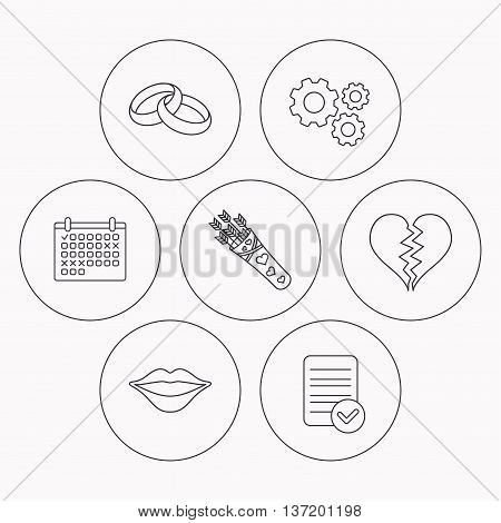 Broken heart, kiss and wedding rings icons. Valentine amour arrows linear sign. Check file, calendar and cogwheel icons. Vector